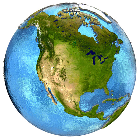 water's: North America on detailed model of planet Earth with continents lifted above blue ocean waters. Elements of this image furnished by NASA.