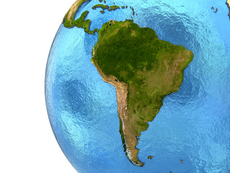 water's: South America on detailed model of planet Earth with continents lifted above blue ocean waters. Elements of this image furnished by NASA.