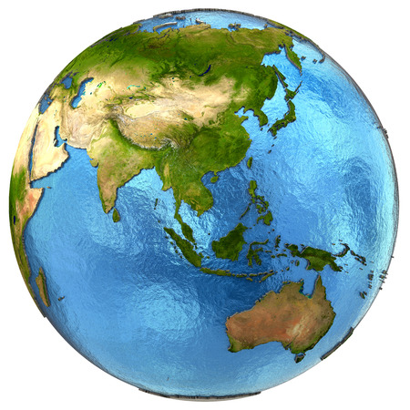 earth map: Asia on detailed model of planet Earth with continents lifted above blue ocean waters. Elements of this image furnished by NASA.