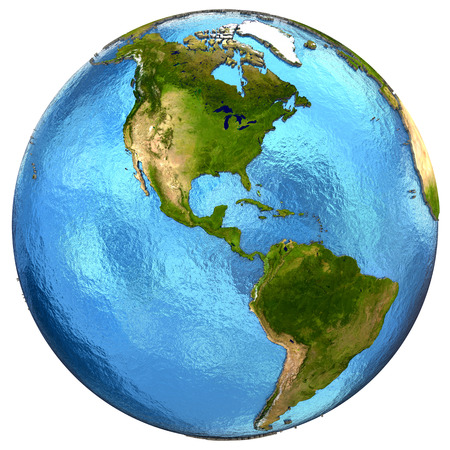 the americas: North and South Americas on detailed model of planet Earth with continents lifted above blue ocean waters. Elements of this image furnished by NASA.