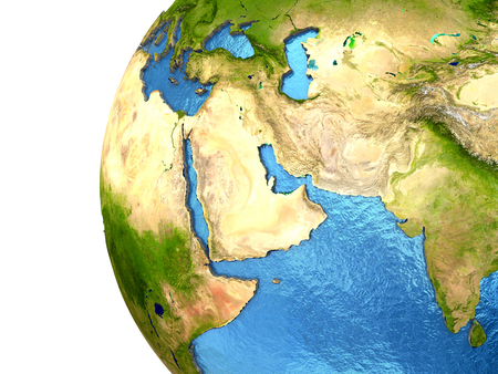 middle east: Middle East region on detailed model of planet Earth with continents lifted above blue ocean waters. Elements of this image furnished