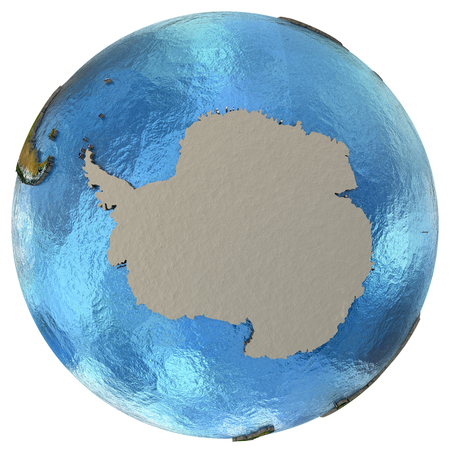 antarctica: Antarctica on detailed model of planet Earth with continents lifted above blue ocean waters. Elements of this image furnished