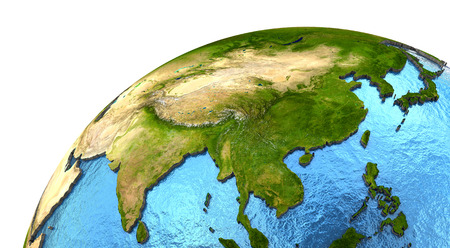 Asia on detailed model of planet Earth with continents lifted above blue ocean waters. Elements of this image furnished Stock Photo