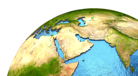 water's: Middle East region on detailed model of planet Earth with continents lifted above blue ocean waters. Elements of this image furnished by NASA.
