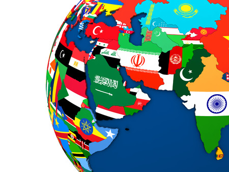 middle east map: Political map of Middle East region with each country represented by its national flag. 3D Illustration.