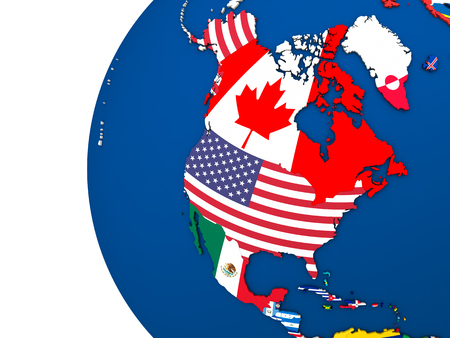 diplomatic: Political map of north America with each country represented by its national flag. 3D Illustration. Stock Photo