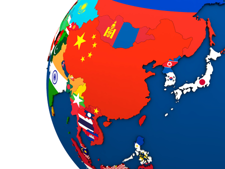 far east: Political map of east Asia with each country represented by its national flag. 3D Illustration.