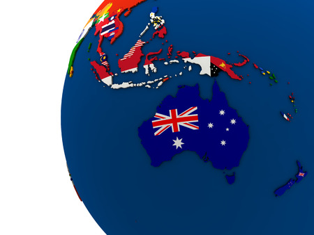 australasia: Political map of Australasia with each country represented by its national flag. 3D Illustration. Stock Photo