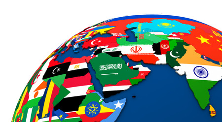 middle east map: Political map of Middle East with each country represented by its national flag. 3D Illustration.