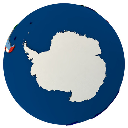 south pole: Political map of Antarctica with each country represented by its national flag.  3D Illustration isolated on white background.