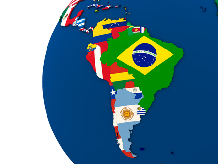 Political map of south America with each country represented by its national flag. 3D Illustration.