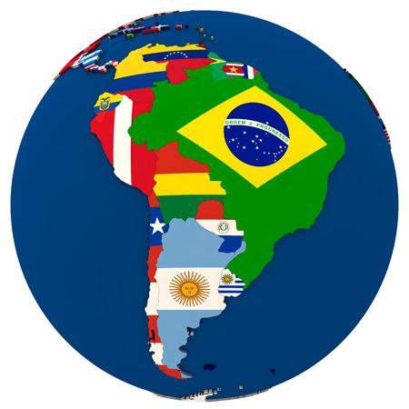 Mapa político de América del Sur con cada país representado por su bandera nacional. Ilustración 3D aislada en el fondo blanco. Foto de archivo