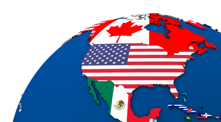 north america: Political map of north America with each country represented by its national flag. 3D Illustration. Stock Photo