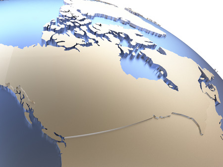 diplomatic: Canada on metallic model of planet Earth with embossed continents and visible country borders. 3D rendering.