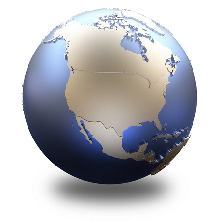 state: North America on metallic model of planet Earth with embossed continents and visible country borders. 3D illustration isolated on white background with shadow. Stock Photo