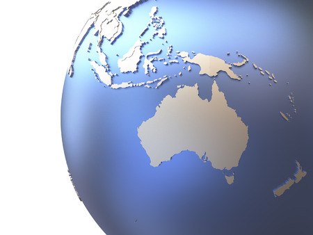 diplomatic: Australia on metallic model of planet Earth with embossed continents and visible country borders. 3D rendering. Stock Photo