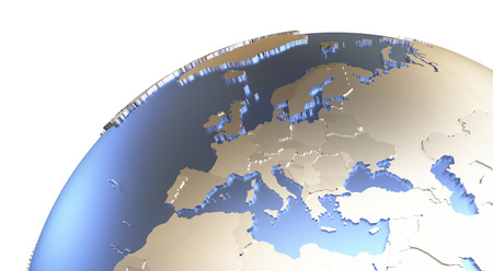 the continents: Europe on metallic model of planet Earth with embossed continents and visible country borders. 3D rendering.