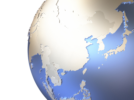 southeast asia: Southeast Asia on metallic model of planet Earth with embossed continents and visible country borders. 3D rendering.