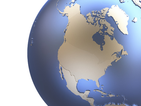 diplomatic: North America on metallic model of planet Earth with embossed continents and visible country borders. 3D rendering.