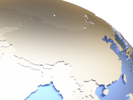 the continents: China on metallic model of planet Earth with embossed continents and visible country borders. 3D rendering.
