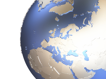 diplomatic: Europe on metallic model of planet Earth with embossed continents and visible country borders. 3D rendering.