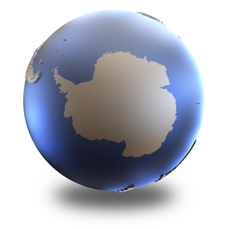 background antarctica: Antarctica on metallic model of planet Earth with embossed continents and visible country borders. 3D illustration isolated on white background with shadow.