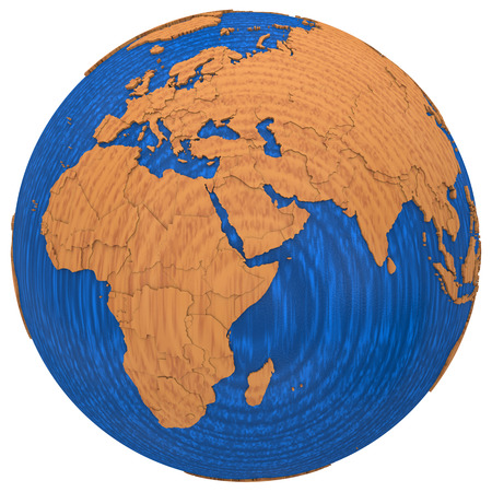 polished wood: Africa on wooden model of planet Earth with embossed continents and visible country borders. 3D illustration isolated on white background.