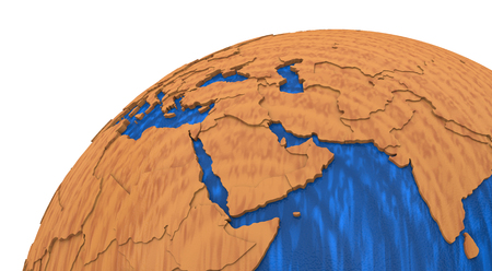 middle: Middle East region on wooden model of planet Earth with embossed continents and visible country borders. 3D rendering.