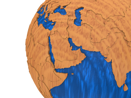 polished wood: Middle East region on wooden model of planet Earth with embossed continents and visible country borders. 3D rendering.
