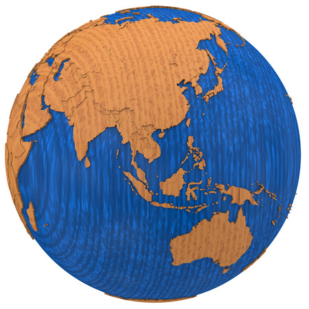 Southeast Asia on wooden model of planet Earth with embossed continents and visible country borders. 3D illustration isolated on white background.