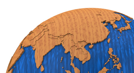 polished wood: Southeast Asia on wooden model of planet Earth with embossed continents and visible country borders. 3D rendering.