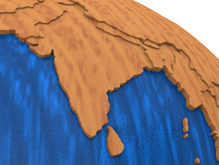 the continents: India on wooden model of planet Earth with embossed continents and visible country borders. 3D rendering.