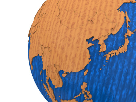 southeast asia: Southeast Asia on wooden model of planet Earth with embossed continents and visible country borders. 3D rendering.