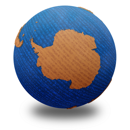background antarctica: Antarctica on wooden model of planet Earth with embossed continents and visible country borders. 3D illustration isolated on white background with shadow.