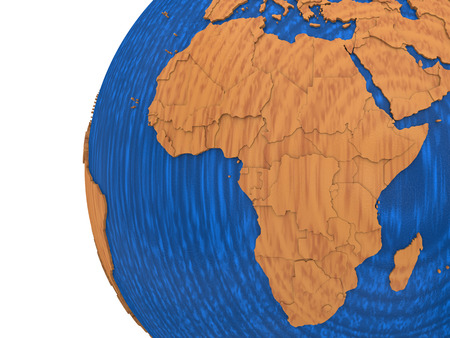 visible: Africa on wooden model of planet Earth with embossed continents and visible country borders. 3D rendering.