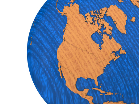 polished wood: North America on wooden model of planet Earth with embossed continents and visible country borders. 3D rendering.