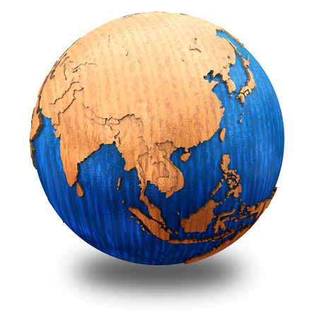 southeast asia: Southeast Asia on wooden model of planet Earth with embossed continents and visible country borders. 3D illustration isolated on white background with shadow.