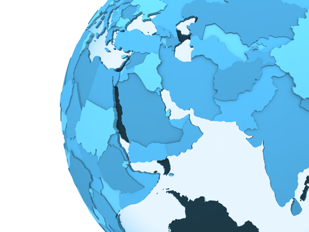 middle east: Middle East region on translucent model of planet Earth with visible continents blue shaded countries. 3D rendering.