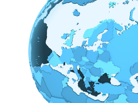 diplomatic: Europe on translucent model of planet Earth with visible continents blue shaded countries. 3D rendering. Stock Photo