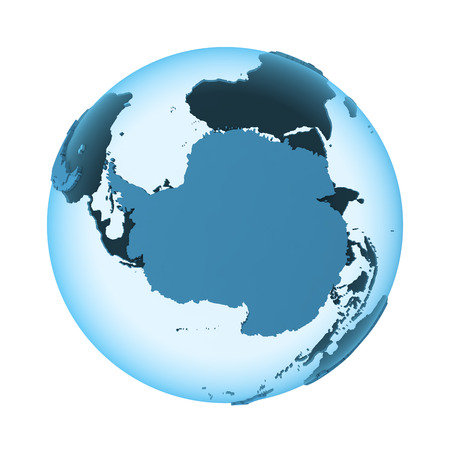 background antarctica: Antarctica on translucent model of planet Earth with visible continents blue shaded countries. 3D illustration isolated on white background.
