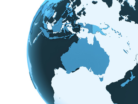 diplomatic: Australia on translucent model of planet Earth with visible continents blue shaded countries. 3D rendering.