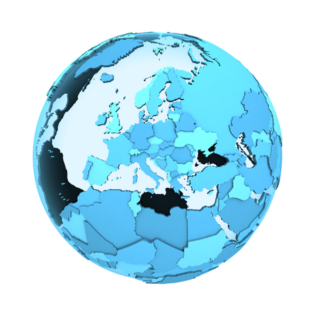 visible: Europe on translucent model of planet Earth with visible continents blue shaded countries. 3D illustration isolated on white background. Stock Photo