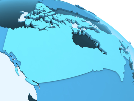 visible: Canada on translucent model of planet Earth with visible continents blue shaded countries. 3D rendering. Stock Photo