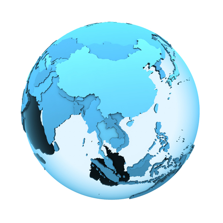 visible: Southeast Asia on translucent model of planet Earth with visible continents blue shaded countries. 3D illustration isolated on white background.