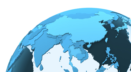 southeast: Southeast Asia on translucent model of planet Earth with visible continents blue shaded countries. 3D rendering.