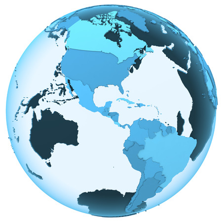 continents: American continents on translucent model of planet Earth with visible continents blue shaded countries. 3D illustration isolated on white background. Stock Photo
