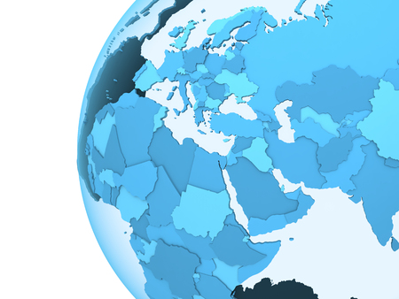 visible: Middle East region on translucent model of planet Earth with visible continents blue shaded countries. 3D rendering.