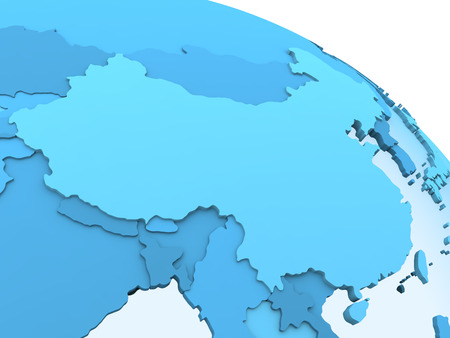 visible: China on translucent model of planet Earth with visible continents blue shaded countries. 3D rendering.