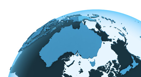 Australia on translucent model of planet Earth with visible continents blue shaded countries. 3D rendering.
