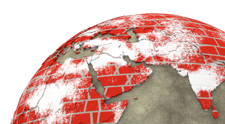 red earth: Middle East region on brick wall model of planet Earth with continents made of red bricks and oceans of wet concrete. Concept of global construction. 3D rendering.
